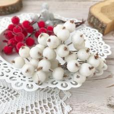 Набор сахарных ягод калины, цвет белый, 10 шт.