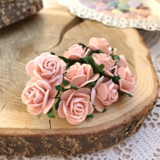 Роза, 2 см., розово-персиковая светлая