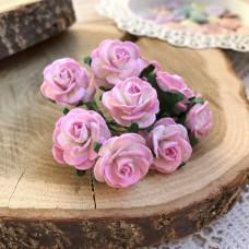 Роза, 2 см., розово-белая