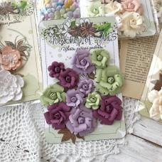 Набор роз ручной работы, фиолетовый/зелёный, 12 шт.