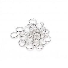 Колечки для подвесок, серебро, 6 мм., 5 шт.