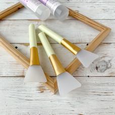 Кисть для клея силиконовая широкая, цвет ручки - жёлтый
