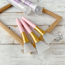 Кисть для клея силиконовая широкая, цвет ручки - розовый