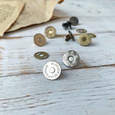 Магнитная кнопка тонкая, 1,5 см., серебро