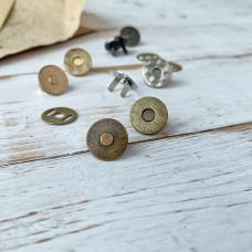 Магнитная кнопка тонкая, 1,5 см., бронза
