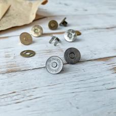 Магнитная кнопка тонкая, 1,5 см., тёмное серебро