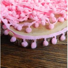 Тесьма с помпонами, цвет розовый