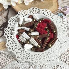 Декоративная кисточка из замши, в ассортименте (шляпка - бронза)