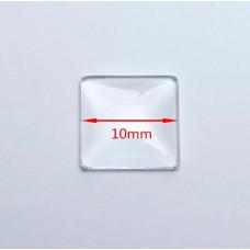 Капелька прозрачная декоративная, квадрат 10 х 10 мм.