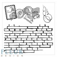 Набор штампов Стена с марками, 10,5 х 10,5 см.