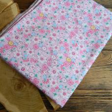 Ткань цветы на розовом фоне