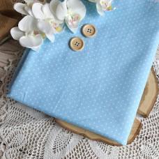 Ткань горошек мелкий на голубом фоне