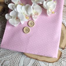 Ткань горошек на розовом фоне, холодный