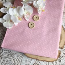 Ткань горошек на розовом фоне, тёплый