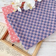 Ткань мелкие розовые цветы на сиреневом фоне