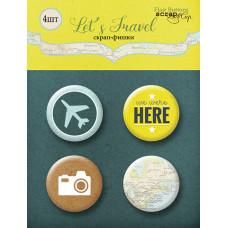 Набор скрап-фишек для скрапбукинга 4 шт. от Scrapmir Let's Travel