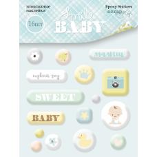 Набор эпоксидных наклеек 16 шт. от Scrapmir Smile Baby