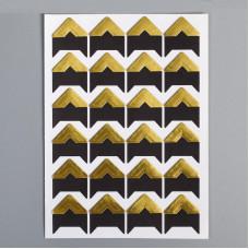 Уголки для фотографий самоклеящиеся бумажные, 15х15 мм., чёрный/золото