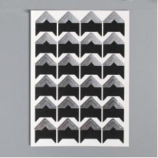 Уголки для фотографий самоклеящиеся бумажные, 15х15 мм., чёрный/серебро